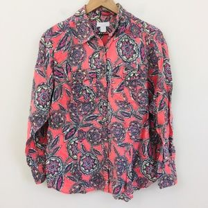 Charter Club Floral Mosaic Linen Button Up